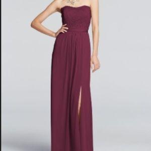 David's Bridal Strapless Lace Dress